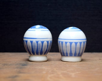 Blue and White Ceramic Salt and Pepper Shakers, Made in Denmark, Danish Modern, Cork Stoppers