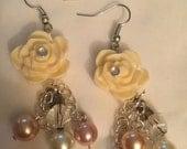 Flower Charm and Pearl Bead Earrings