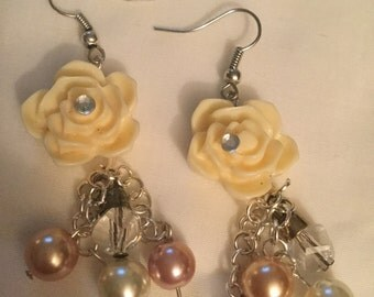 Flower Charm and Pearl Bead Earrings