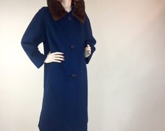 Vintage 1950s Blue Wool Overcoat With Mink Fur Collar