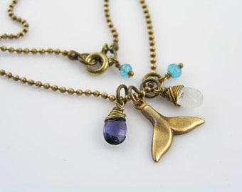 Whale Tail Necklace with Iolite and Aquamarine, Whale Necklace, Inspirational Necklace, Save Whales, Whale Tail Jewelry