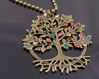 Crystal Set Tree of Life Necklace, Colorful Tree Necklace, Tree Jewelry, Tree of Life Jewelry, Tree Necklace, Tree of Life Pendant