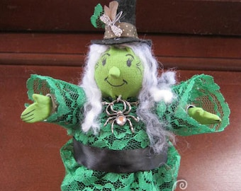 Witch Doll! Hilda the Witch! Handmade One of a Kind Art Doll - Roly Poly Cute Witch Friend! OOAK!