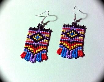 Bold Bright Unique Native American Style Handwoven Long Dangle Seed Bead Earrings Fashion Earrings native tribal boho fall diamond pattern