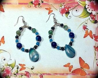 Beautiful Blues Long Dangle Hoop Style Earrings for Everyday Wear Fashion Earring Boho Native Hippie Tribal Ethnic
