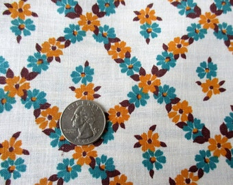 Vintage feedsack floursack fabric full opened feed sack whitgold aqua floral grain sack cotton quilt fabric yardage N8