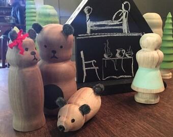 Goldilocks and Three Bears Storybook Playset/ waldorf inspired dolls Girls birthday gift gold brown 3 bears cottage nursery decor