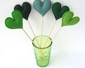 Bunch of Green Felt Hearts - Set of 5 Plush Handmade Felt Love Hearts on sticks in shades of green. Heart Toppers. Felt Heart Sticks.