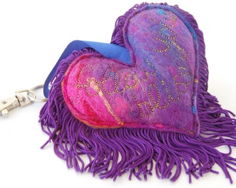Follow your bliss - Blue, Pink and Purple Love Heart Keychain - A special handmade felt keyring or bag charm with purple fringe. Affirmation
