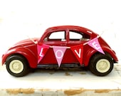 LOVE BUG- Vintage Tonka Red Volkswagen VW Bug Beetle, With A Handmade Fabric Bunting BanneR