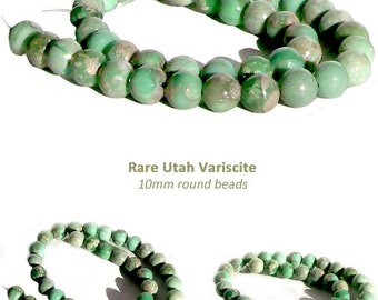 MERZIEs 10 UTAH VARISCITE 5-6mm yummy mint green round genuine natural stone beads varisite varicite - Combined Shipping