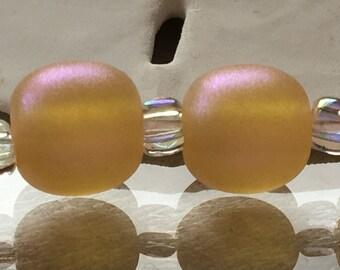 Shimmering Honey Pearl Pair Handmade Lampwork Glass Beads by Jettonne SRA