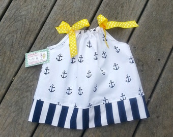 Girls Anchor Dress - Pillowcase Dress - Anchors - Nautical Themed Birthday - Girls Beach Dress - Groovy Gurlz