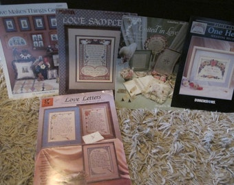 Love Theme Cross Stitch Book Lot