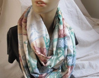 SALE - Watercolor Floral Cowl, Circle Scarf, Infinity Scarf, Loop Scarf, Summer Scarf, Womens Cowl, Women Scarf, Fabric Scarf