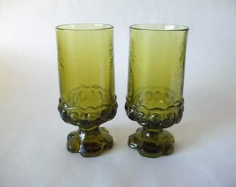 Tiffin Franciscan Madeira Iced Tea Glasses/Goblets, Citron Green, Gothic Vintage Set of 2, USA 1970s