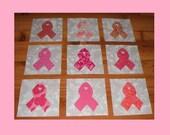 "Set of 9 Applique  6"" x 6""  Quilt Blocks  ...  Pink Ribbon Breast Cancer Awareness"