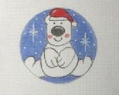 Whimsical Santa Polar Bear in the Snow Handpainted Needlepoint Canvas Christmas Ornament