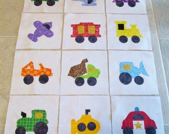 "Set of 12 Various Transportation Vehicles 6"" x 6""  Quilt Blocks"