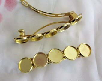 4 Pieces of  Hair Clip Barrette Blanks With 5 Pieces Bezels Brass Or Gold Colors
