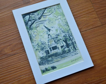 Madison Square - Savannah Watercolor Fine Art Print Pen and Ink Drawing