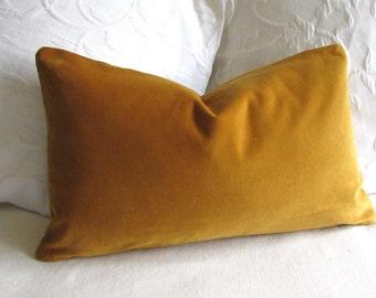 VELVET decorative Pillow 12x20 includes insert antique gold velvet fabric