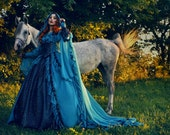 Gothic Peacock Sparkle Sleeping Beauty Princess Medieval Fantasy Gown Custom Size
