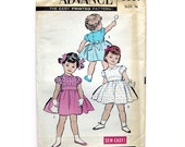 1950s Toddlers Dress Vintage Sewing Pattern / Advance 8997 / Back Belt, Flouncy Skirt and Puff Sleeves  // Size 1/2T UNCUT FF