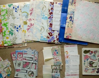 Assortment of Vintage Antique Gift Wrapping Paper, Packaging, General Occasion, Paper, Tags, Tissue, Cut Outs, Scraps, Patterns