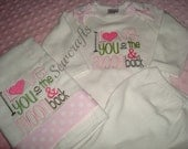Love You To The Moon Coming home outfit Bodysuit/Gown  and Personalized Hat and Burp cloth  - Home coming from Hospital -