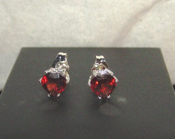 Red GARNET Gemstone HEARTS, Stud Earrings in Sterling