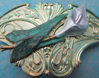 Lily Hair Clip Wedding Hair Barrette Lily Art Nouveau Design Bridesmaids gifts Bridal hair jewelry