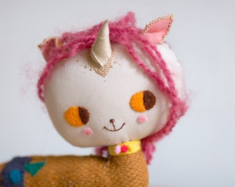 Unicorn Doll. Pink and Mustard with golden horn unicorn rag doll. One-of-a-kind handmade art doll. Soft sculpture. Collectible Waldorf Doll.