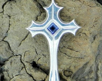Sterling Silver Cross, Gothic Style w/ Iolite