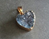 Blue Druzy Heart Pendant, Quartz Crystal Electroplated in Gold, Small Drusy Pendant