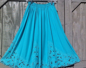 80's Cutout Midi Skirt Floral Embroidery