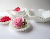 Vintage Milk Glass Bowl Dish Collection of Five - Tea Parties