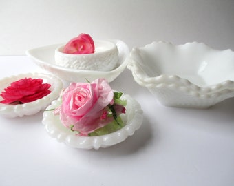 Vintage Milk Glass Bowl Dish Collection of Five