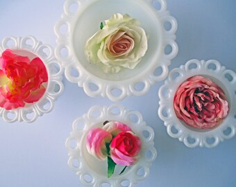 Vintage Milk Glass Lacy Footed Bowls Set of Four - Weddings Bridal