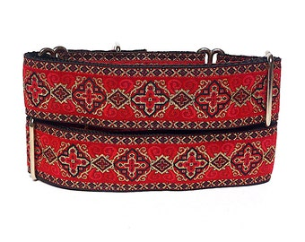 red Martingale collar KINGS COURT w/ metallic gold, dog collar, greyhound collar, large dog collar, sighthound collar, training collar