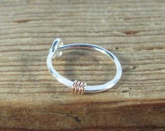 Hoop Earring Silver Hammered & Wrapped Pink Gold SINGLE - Minimal Hoop, Tragus Hoop, Cartilage Hoop, Daith Hoop, Rook Hoop, Helix Hoop