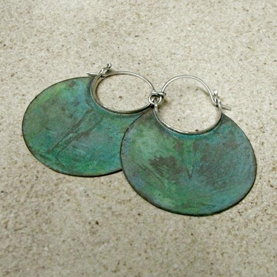 Large Verdigris Earrings, Earth Goddess Earrings, Verdigris Hoop Earrings Bronze And Sterling Silver Metalwork Jewelry, Rustic Green Earring