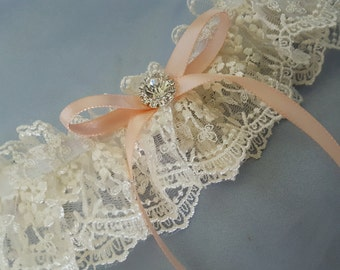 Ivory Peach Vintage Lace Bridal Garter Pearl Rhinestone Accent Wedding Garter