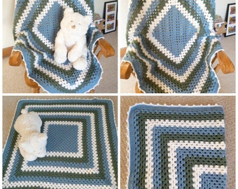 Handmade Crocheted Baby Blanket - Baby Boy - Blue - Gray - White - Shower gift - ready to ship - Crocheted - Striped - Handmade