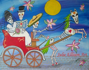 """Instant Download Printable Art jpeg Day Of The Dead """"The Carriage Ride"""" Art Print Mexican Carriage Wedding Folk Artist J Ellison"""