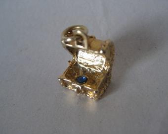 Treasure Chest Gold Blue Charm Vintage Rhinestone