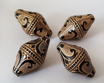 19x11mm Black Gold Etched bicone Acrylic beads - 6pcs
