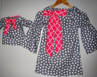 "Tunic Dress SALE 10% 0ff code is tiljan  America Girl doll dress polka dots Peasant dress matching 18"" doll dress sizes 2t,3t,4t,5t,6,7,8,10"