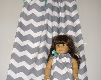 pillowcase dress doll dress Gray chevron pillowcase dress America Girl Doll  9 12, 18 month 2t,3t,4t,5t,6,7,8,10,12