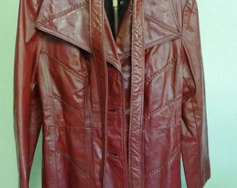 Vintage 1970s Jill Howard Originals leather coat Size 14 Oxblood color